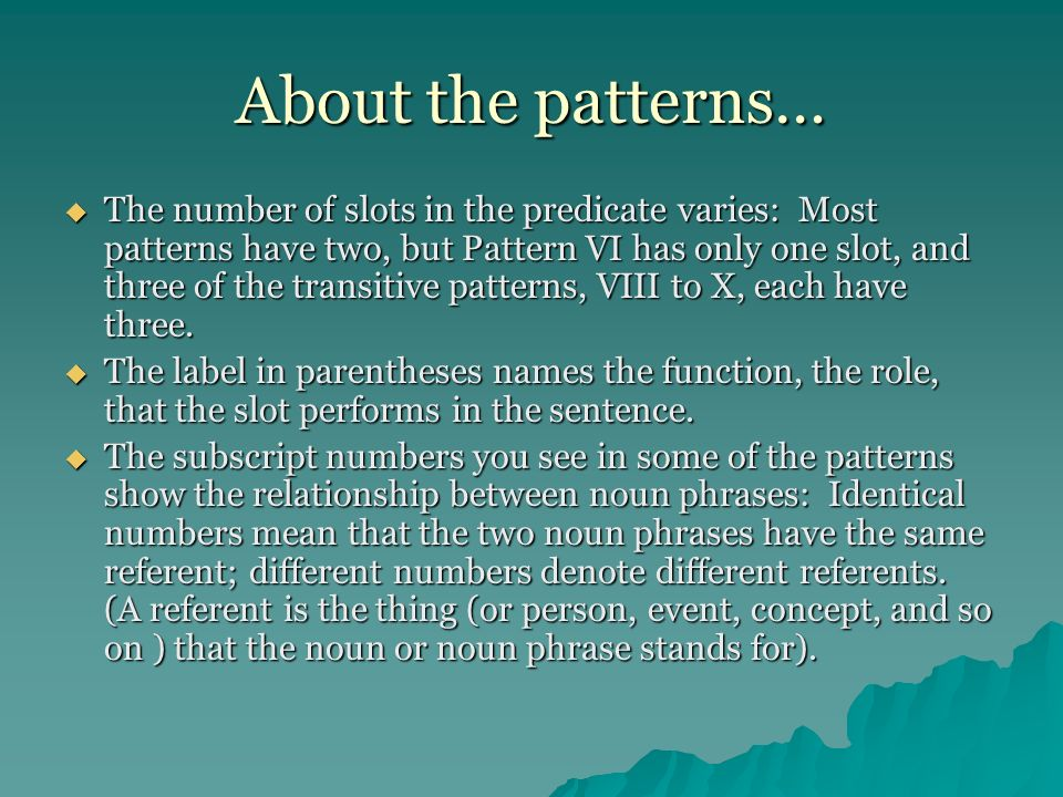 About the patterns…