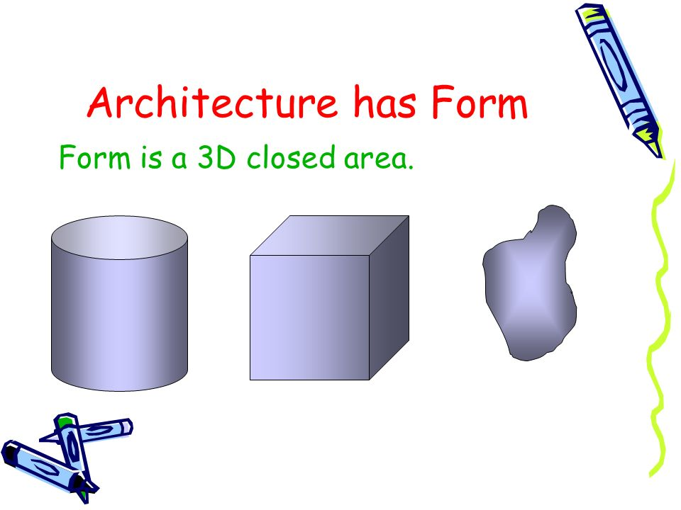 Architecture has Form Form is a 3D closed area.