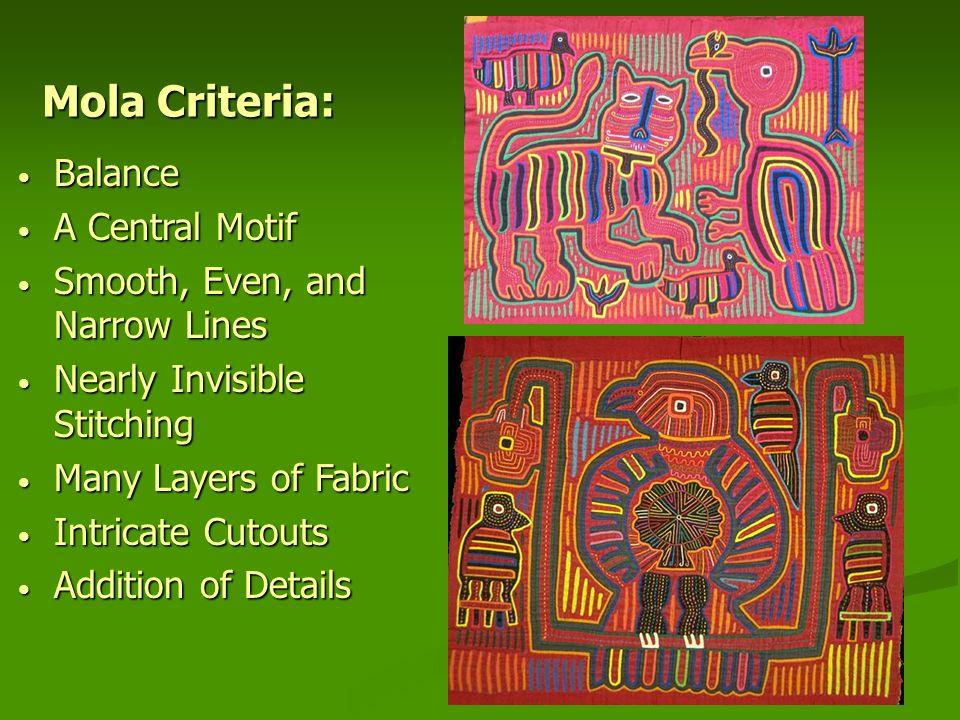 Mola Criteria: Balance A Central Motif Smooth, Even, and Narrow Lines