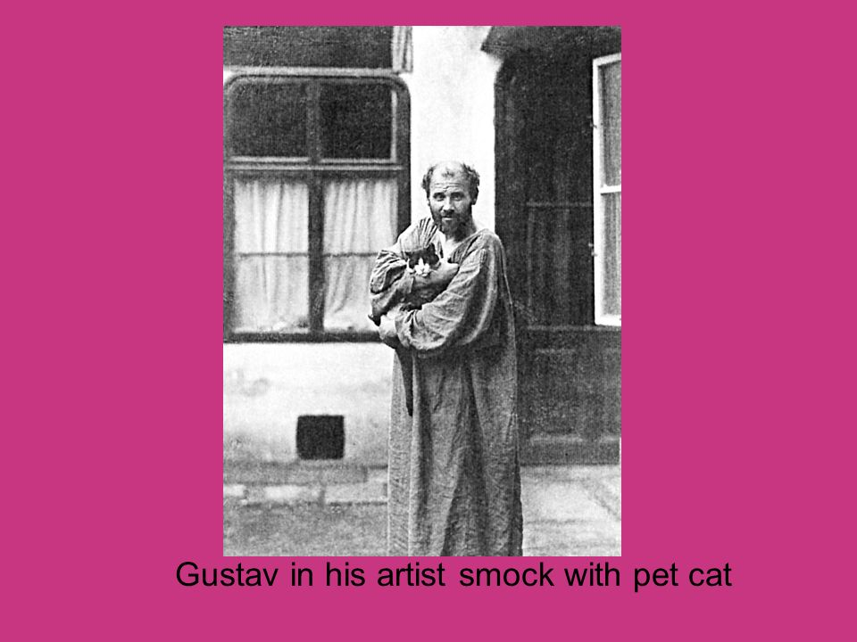 Gustav in his artist smock with pet cat