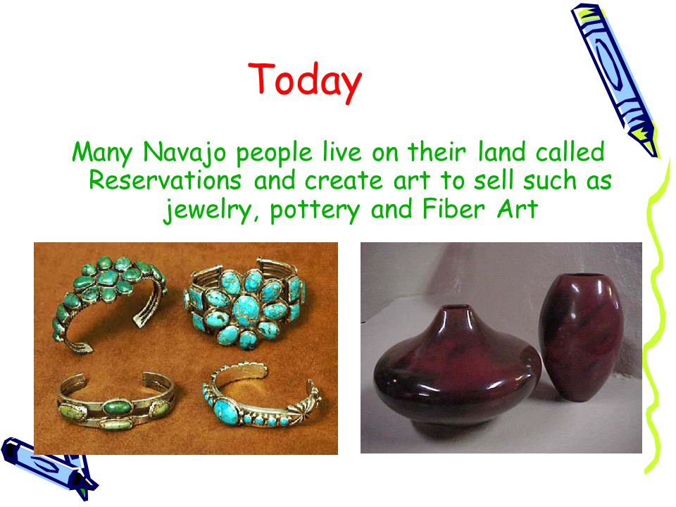 Today Many Navajo people live on their land called Reservations and create art to sell such as jewelry, pottery and Fiber Art.