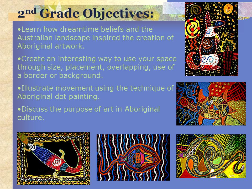 2nd Grade Objectives: Learn how dreamtime beliefs and the Australian landscape inspired the creation of Aboriginal artwork.