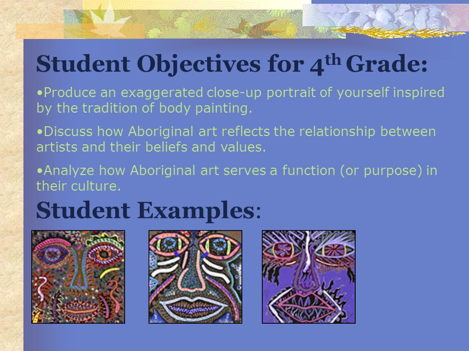 Student Objectives for 4th Grade: