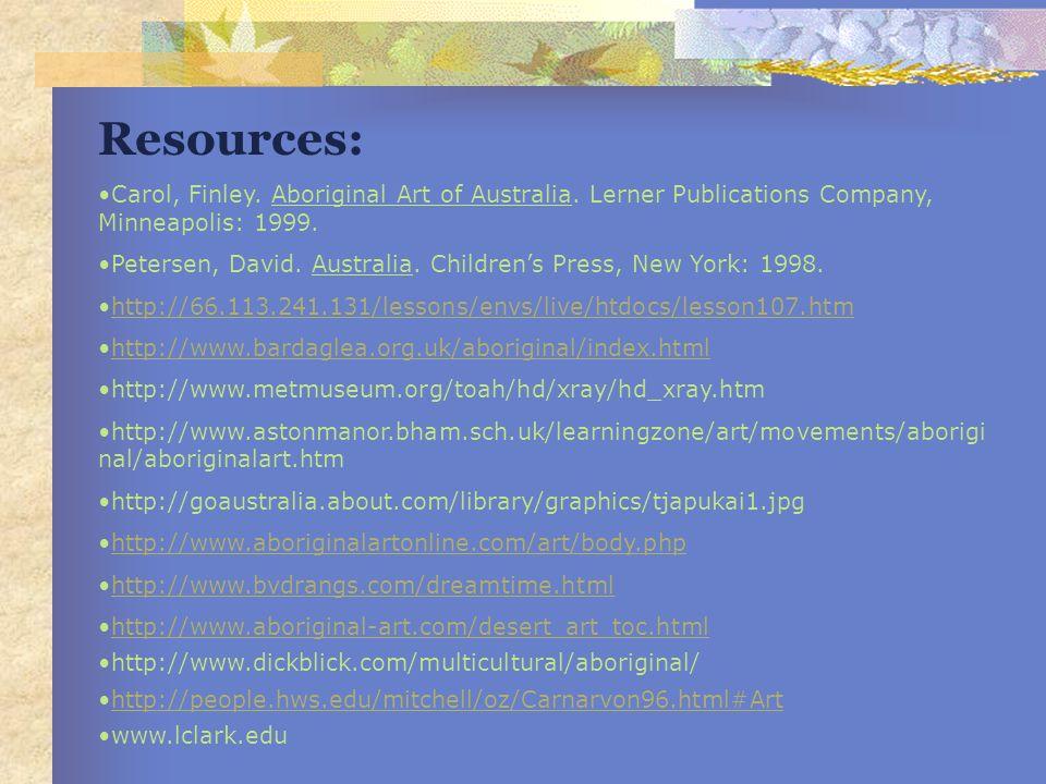Resources: Carol, Finley. Aboriginal Art of Australia. Lerner Publications Company, Minneapolis: 1999.