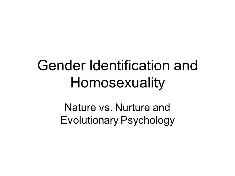 Gender Identification and Homosexuality