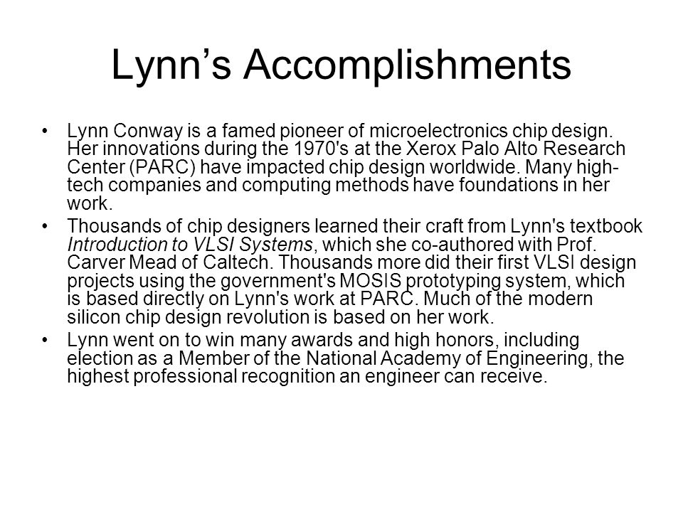 Lynn's Accomplishments