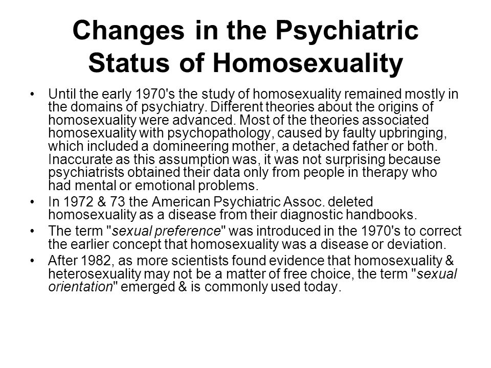Changes in the Psychiatric Status of Homosexuality