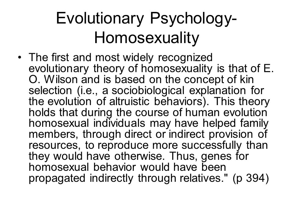 Evolutionary Psychology- Homosexuality