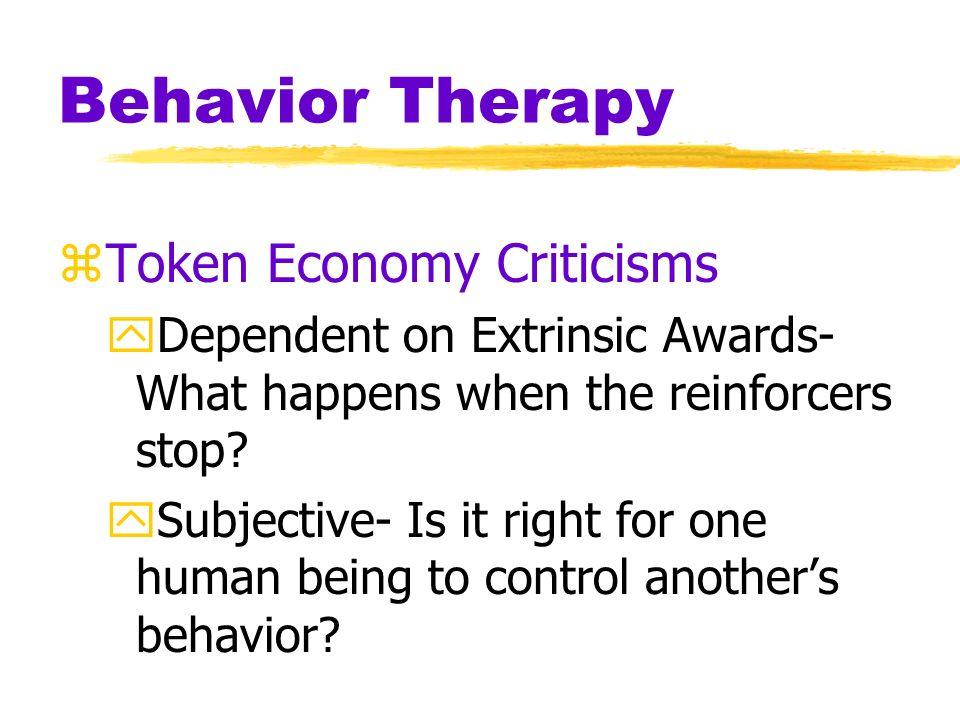 Behavior Therapy Token Economy Criticisms