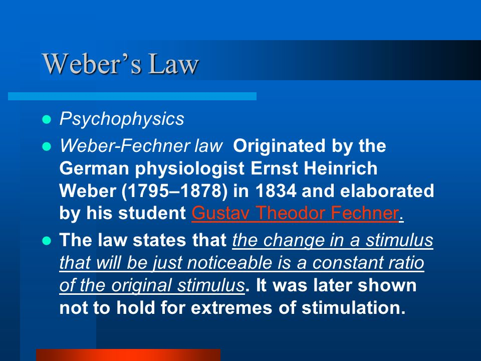 Weber's Law Psychophysics