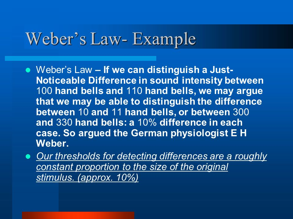 Weber's Law- Example