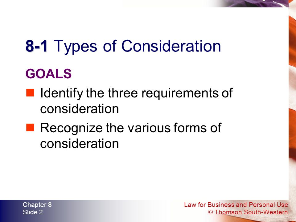 8-1 Types of Consideration