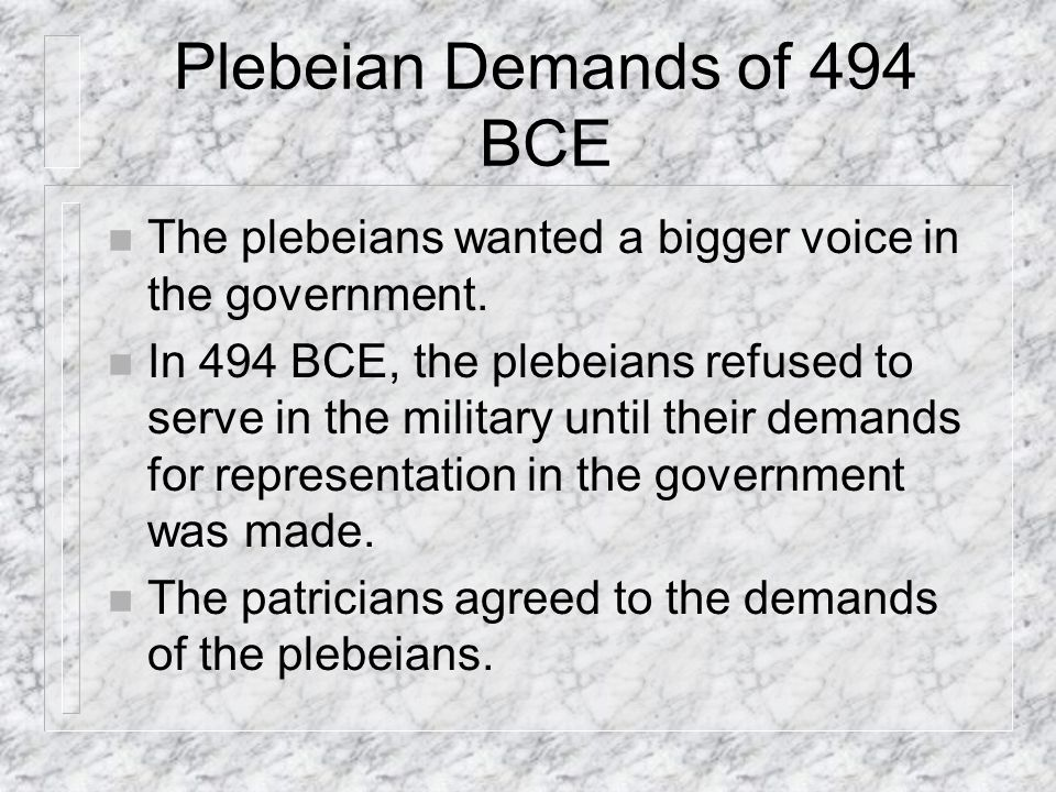 Plebeian Demands of 494 BCE