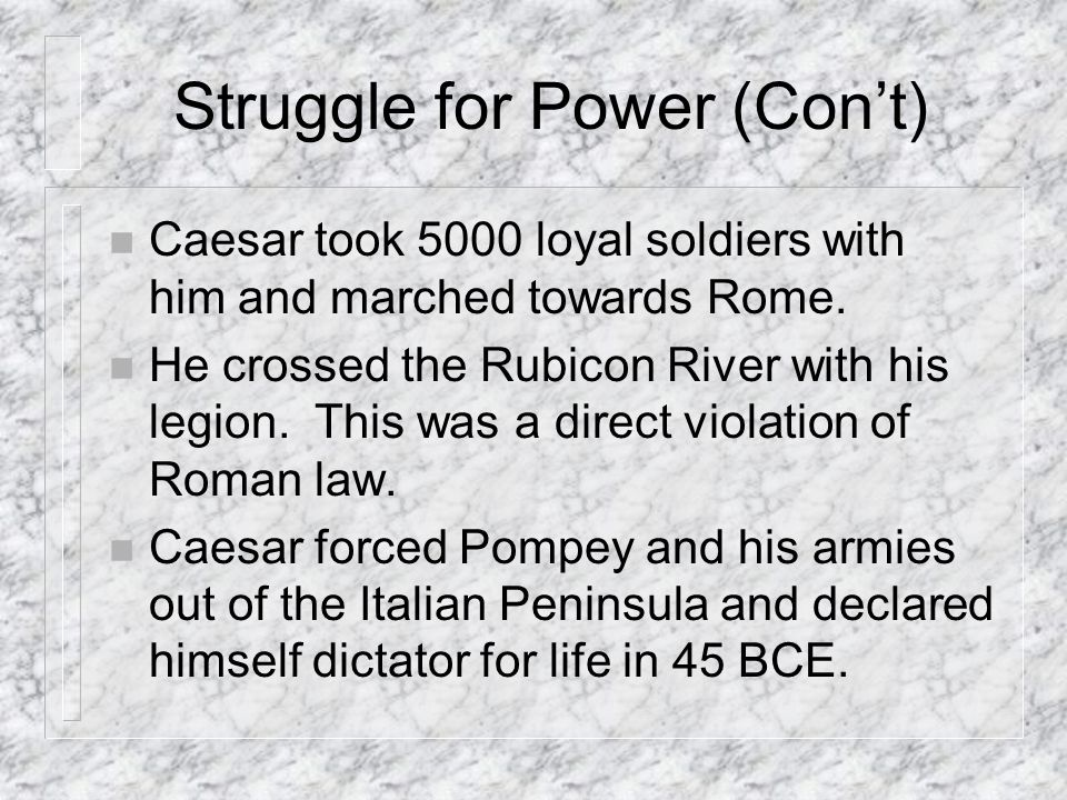 Struggle for Power (Con't)
