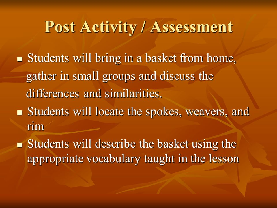 Post Activity / Assessment