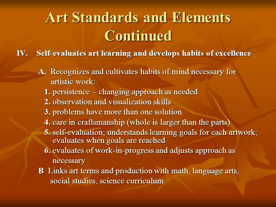 Art Standards and Elements Continued