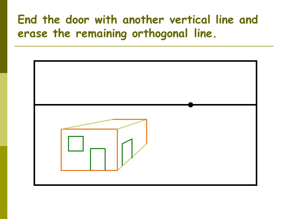 End the door with another vertical line and erase the remaining orthogonal line.