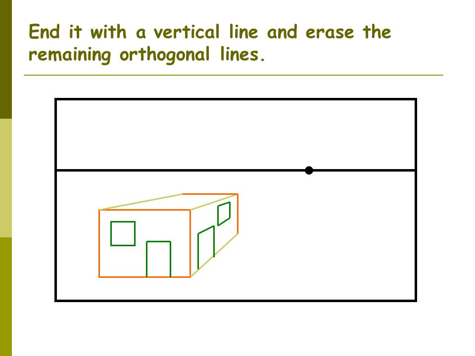 End it with a vertical line and erase the remaining orthogonal lines.