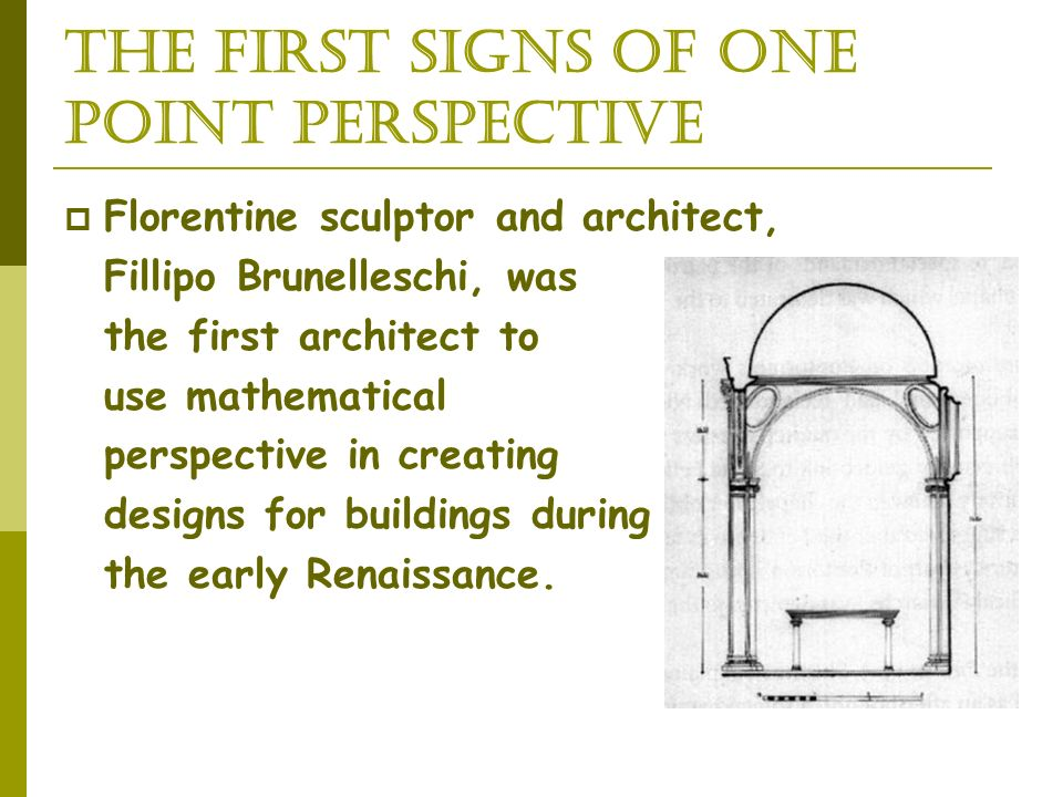 The first signs of One Point Perspective