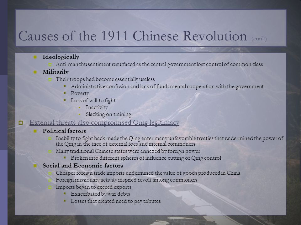 Causes of the 1911 Chinese Revolution (con't)