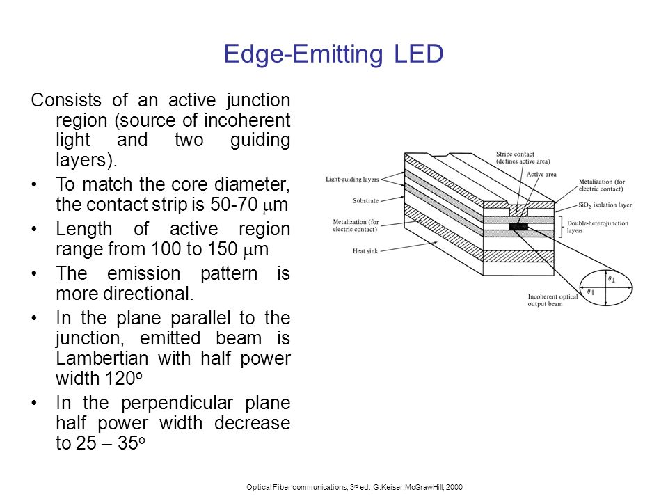 Edge-Emitting LED Consists of an active junction region (source of incoherent light and two guiding layers).