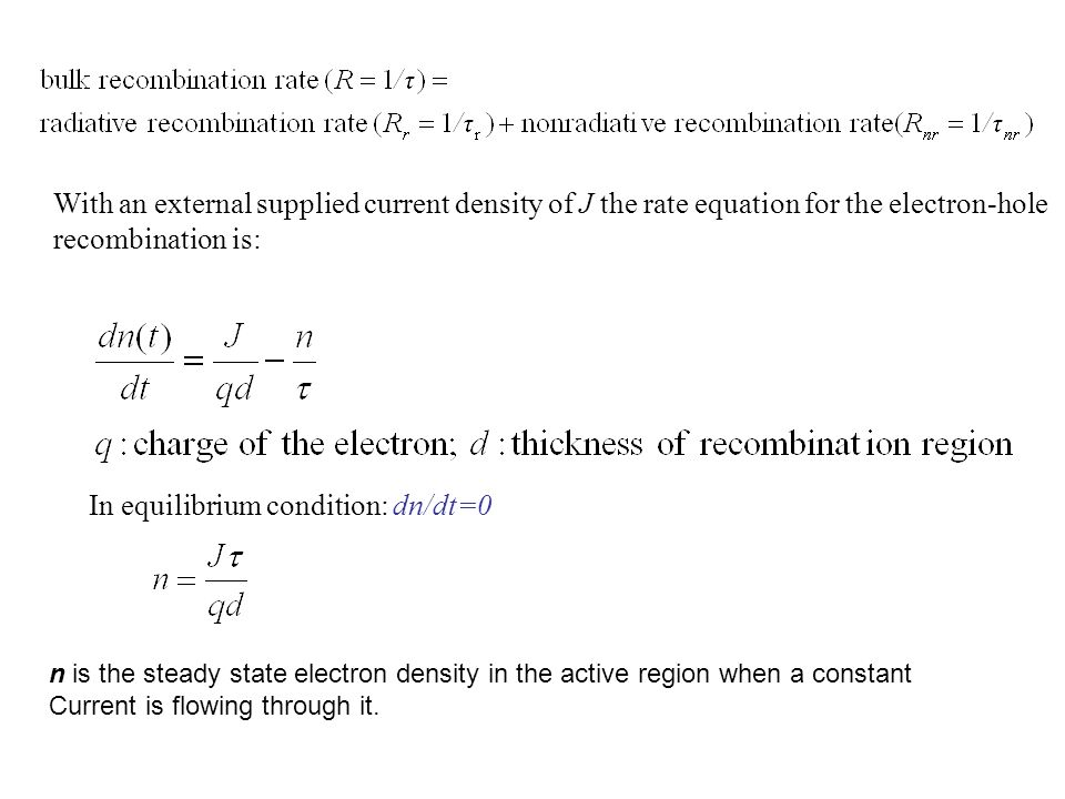 In equilibrium condition: dn/dt=0