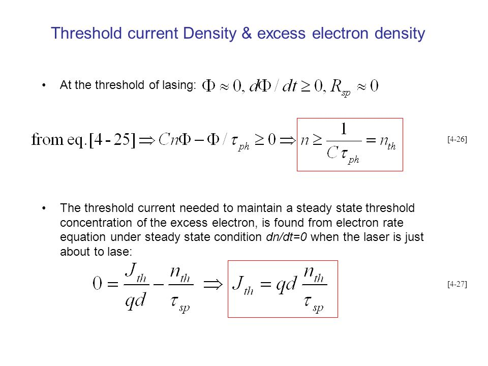 Threshold current Density & excess electron density