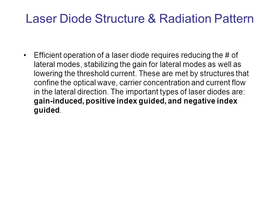 Laser Diode Structure & Radiation Pattern