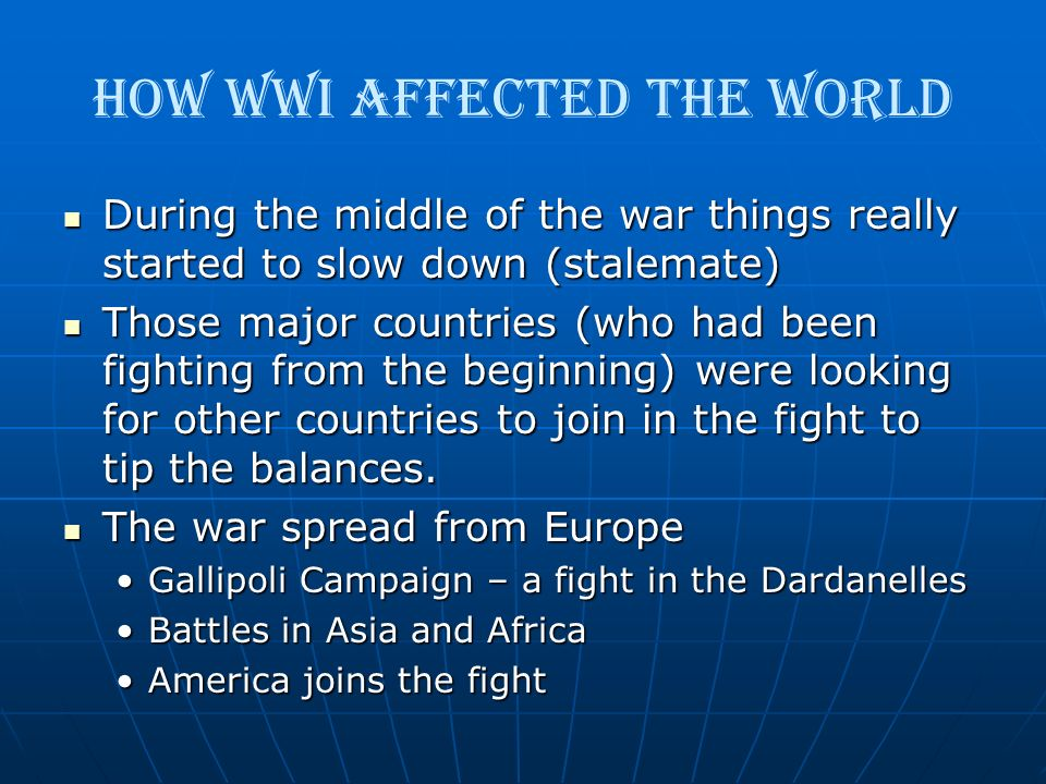 How WWI Affected the World