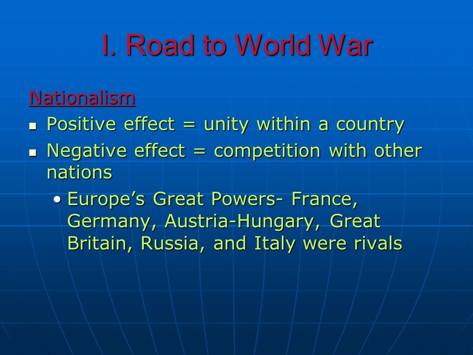 I. Road to World War Nationalism