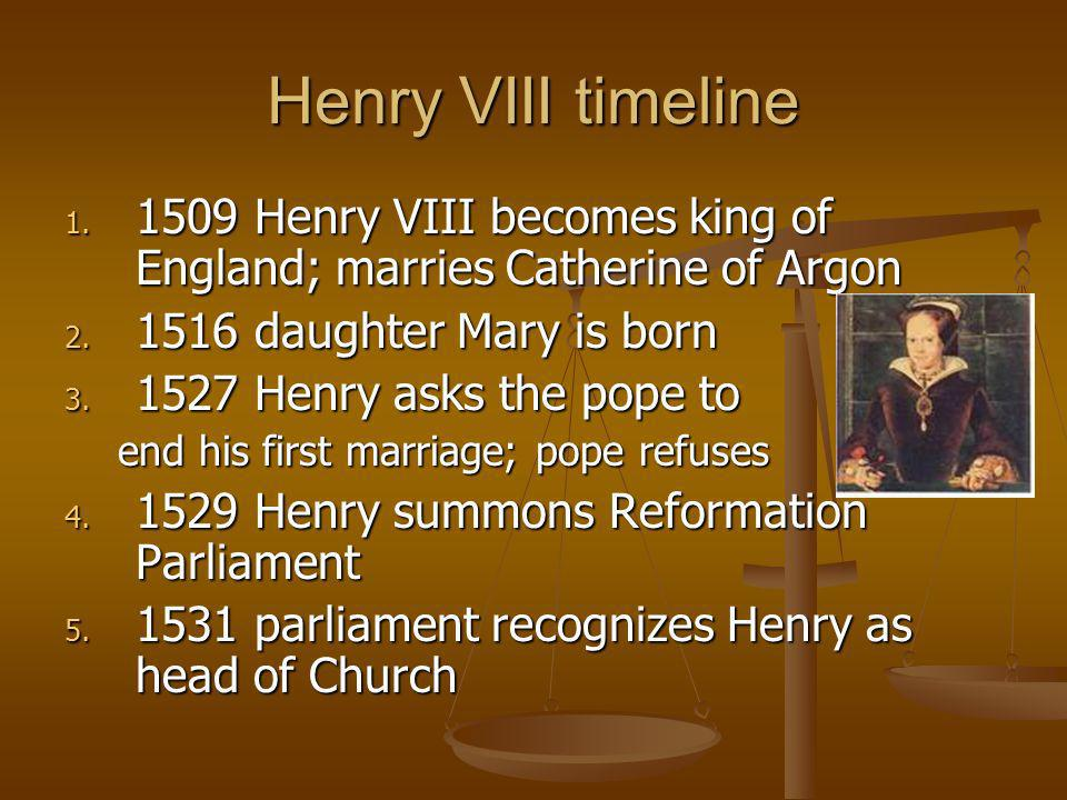 Henry VIII timeline 1509 Henry VIII becomes king of England; marries Catherine of Argon. 1516 daughter Mary is born.