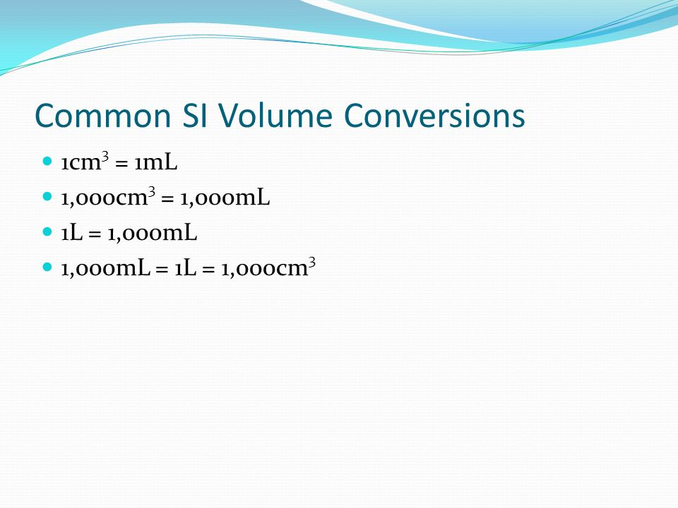 Common SI Volume Conversions