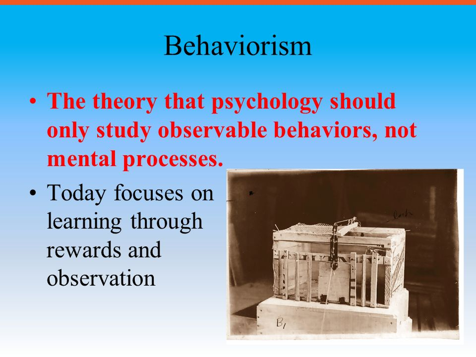 BEHAVIORISM: a theoretical orientation based on the premise that ...