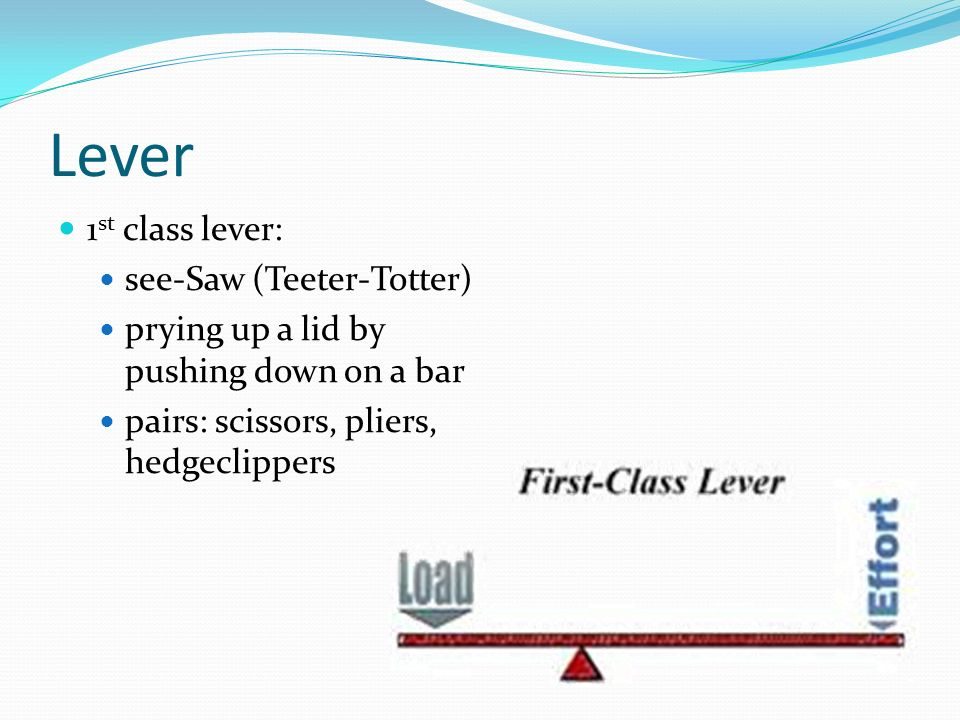 Lever 1st class lever: see-Saw (Teeter-Totter)