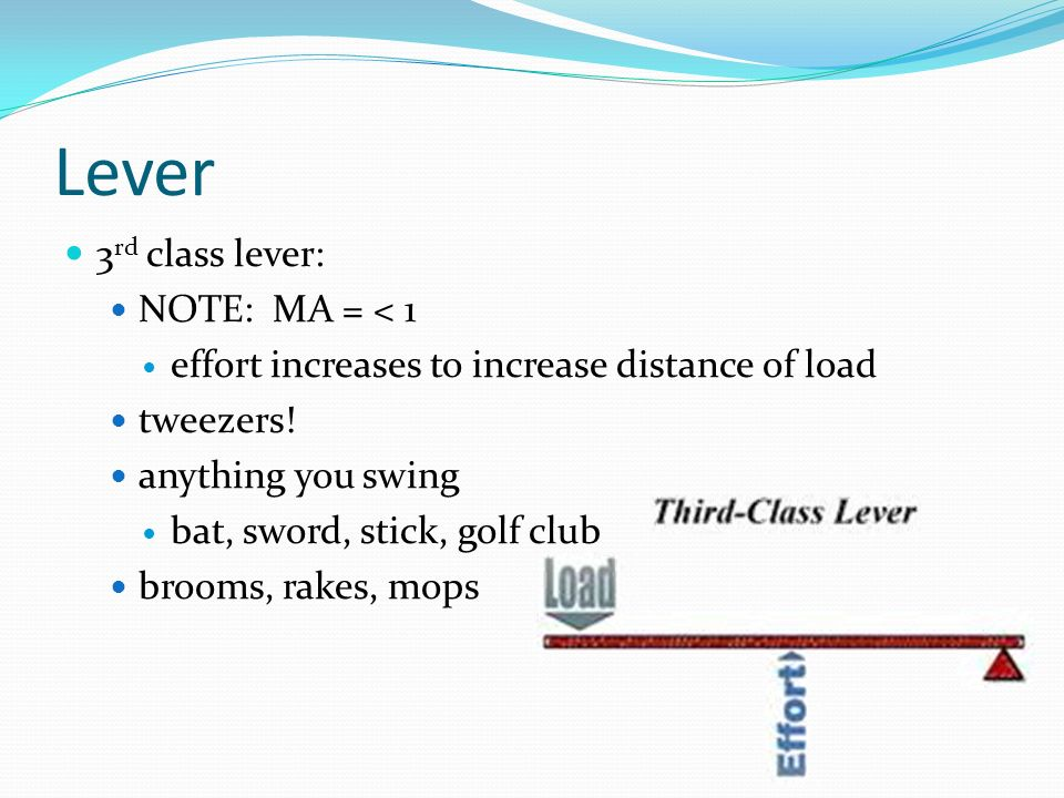 Lever 3rd class lever: NOTE: MA = < 1