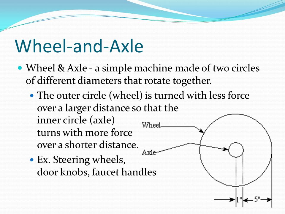 Wheel-and-Axle Wheel & Axle - a simple machine made of two circles of different diameters that rotate together.