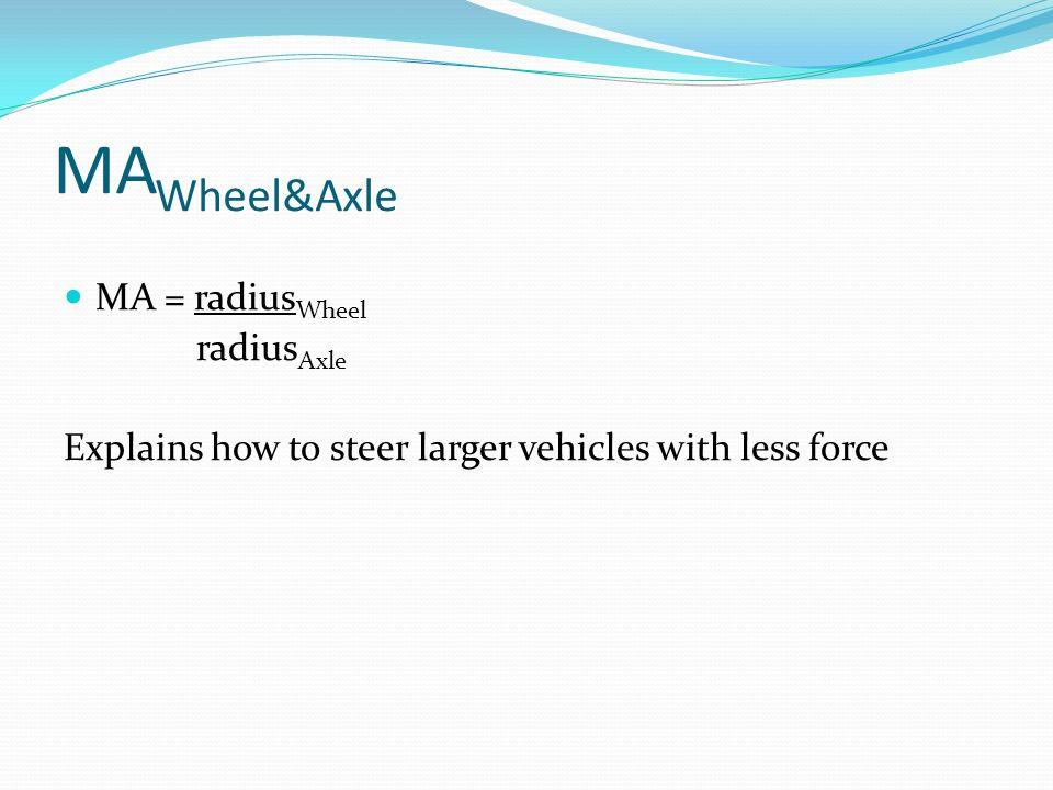 MAWheel&Axle MA = radiusWheel radiusAxle