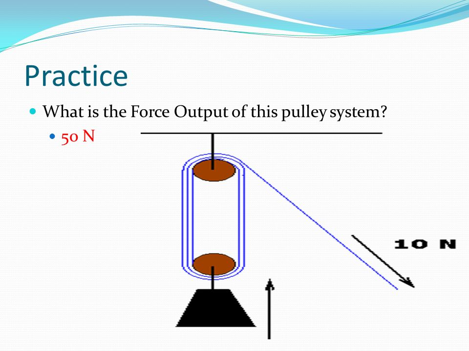 Practice What is the Force Output of this pulley system 50 N