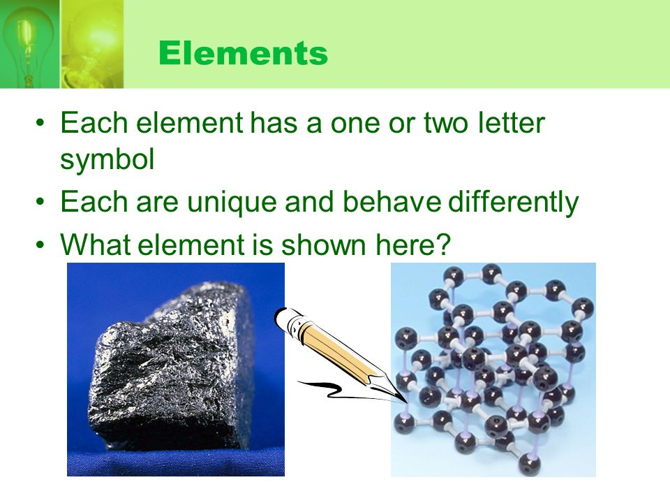 Elements Each element has a one or two letter symbol