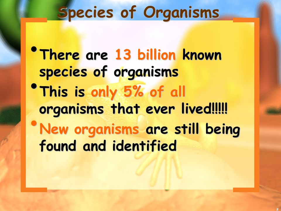 Species of Organisms There are 13 billion known species of organisms