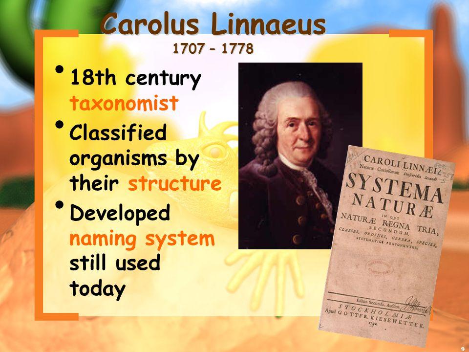 Carolus Linnaeus 1707 – 1778 18th century taxonomist