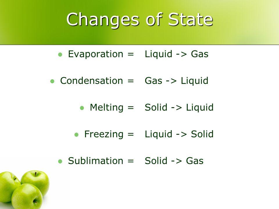 Changes of State Evaporation = Condensation = Melting = Freezing =