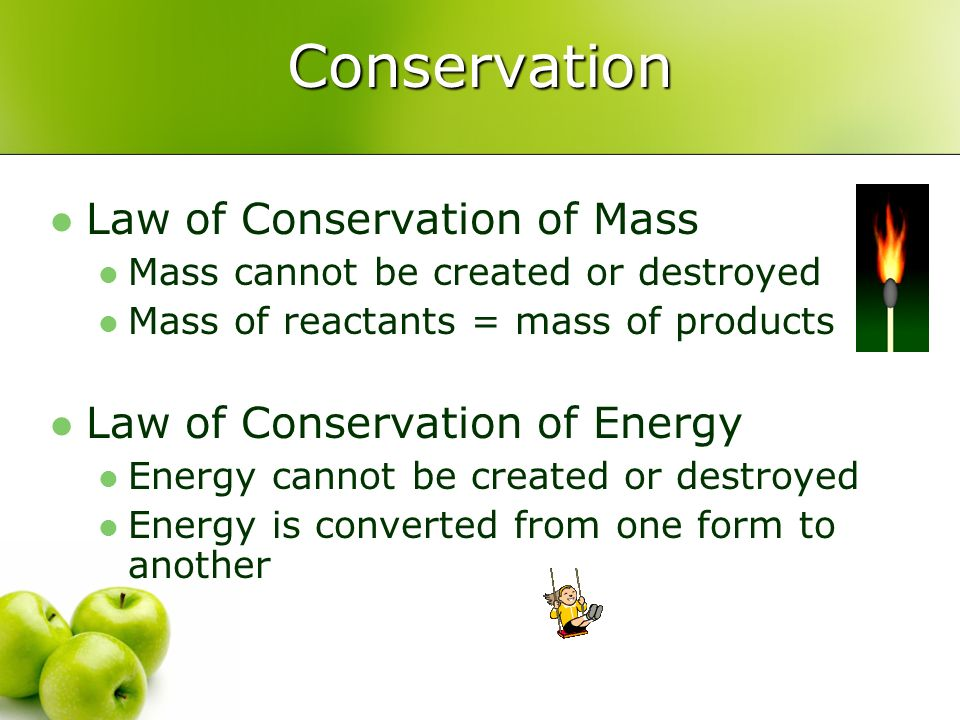 Conservation Law of Conservation of Mass Law of Conservation of Energy