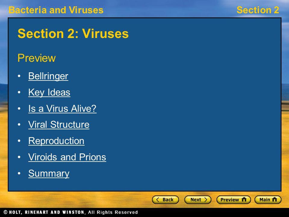 Section 2: Viruses Preview Bellringer Key Ideas Is a Virus Alive