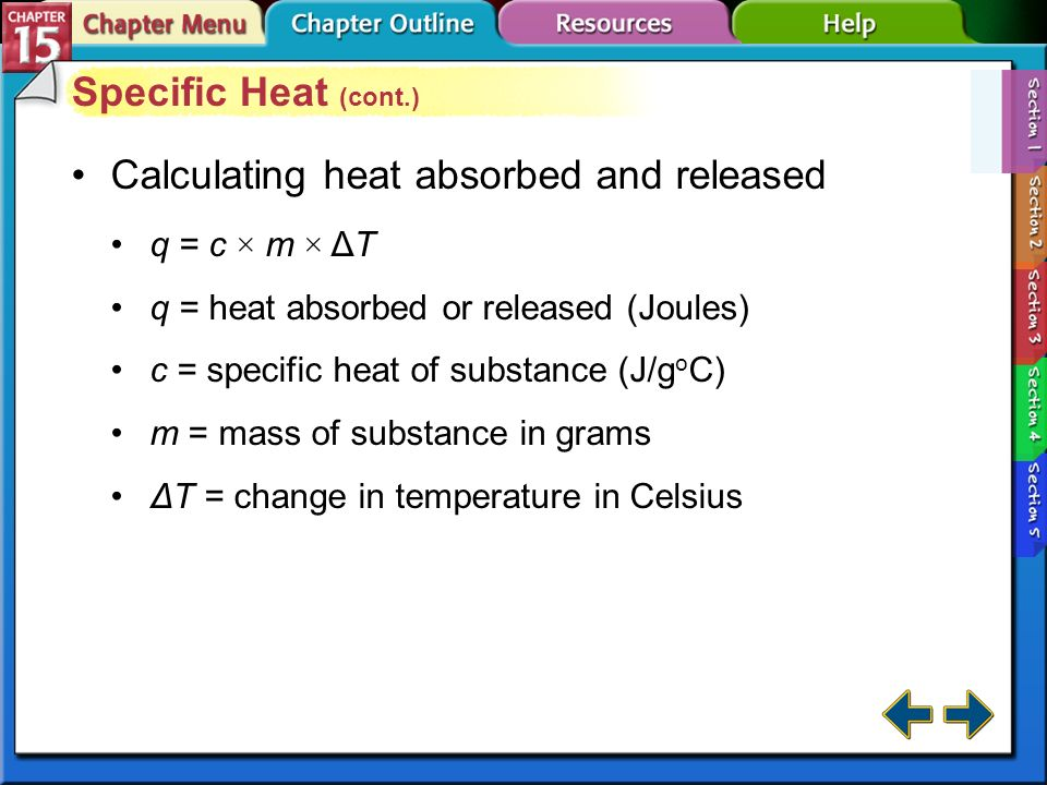 Calculating heat absorbed and released