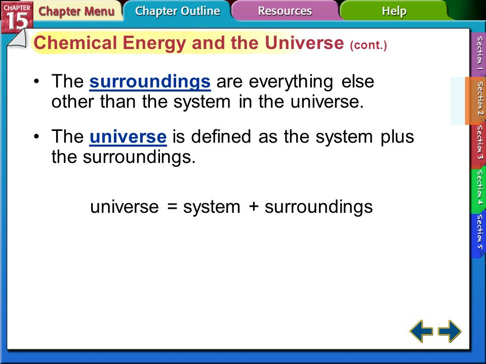 Chemical Energy and the Universe (cont.)