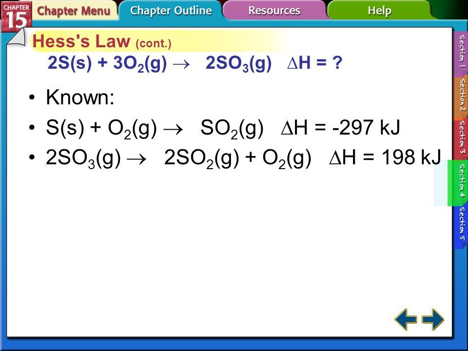 S(s) + O2(g)  SO2(g) H = -297 kJ