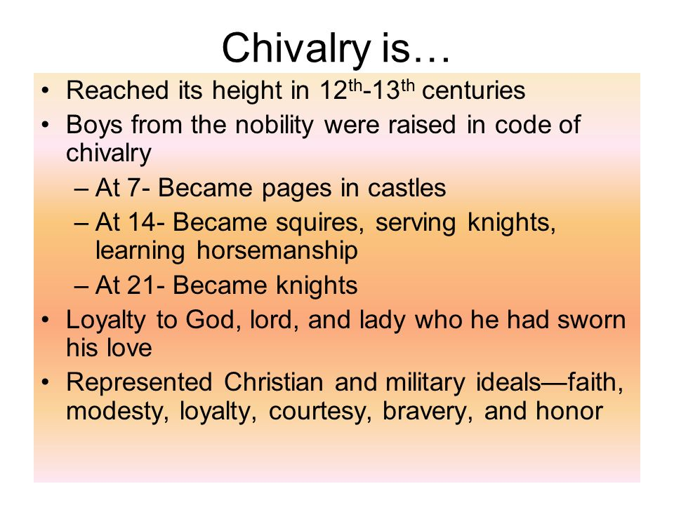 Chivalry is… Reached its height in 12th-13th centuries