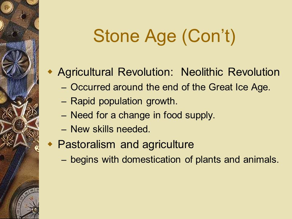 Stone Age (Con't) Agricultural Revolution: Neolithic Revolution