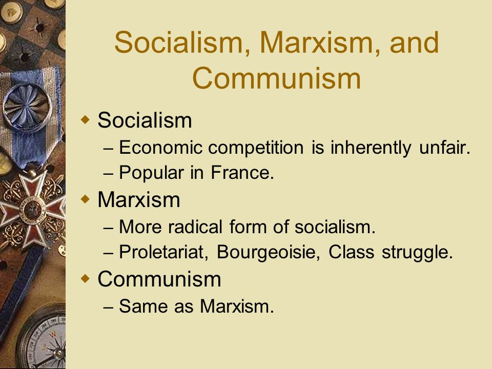 Socialism, Marxism, and Communism
